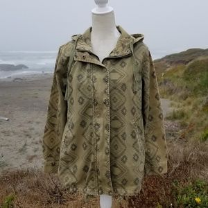 Forever 21 Army Green Aztec Pattern Utility Jacket